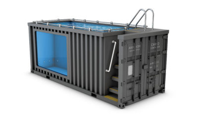 Container Pool mit Treppe